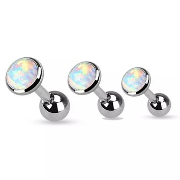 White opal 316L Surgical Steel 16g, 16 gauge cartilage, tragus, helix earring