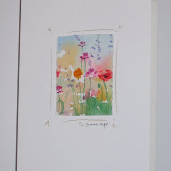 original flower watercolor painting mounted on a blank greeting card, poppies and wildflowers.