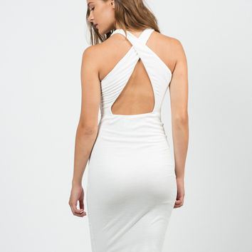 Ribbed Cross Back Dress