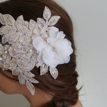 Wedding Hair Comb,Bridal Hair Accessories, Wedding Head Piece, Champagne Lace Beaded , Pearl Wedding Hair Accessories,Floral HairPin