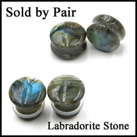 New Pair Labradorite Stone Ear Flesh Tunnel Plugs Double&Single Flared Plug Glow Stone Ear Gauges Expander Body Piercing Jewelry