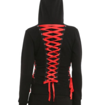 Hell Bunny Black Red Corset Hoodie