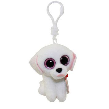 Pippie White Poodle Ty Beanie Boos Clips Keychain