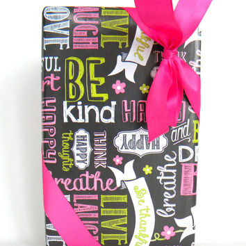 Words of Kindness Chalkboard Wrapping Paper, 10 ft.Roll, Phrases in Hot Pink, White, and Kiwi Green on Black