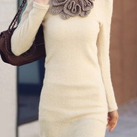 Beige Floral Designed Long Sleeve Knitted Dress