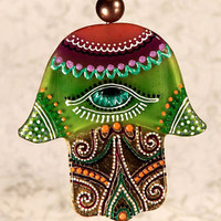 Handmade HAMSA glass fusing techniques gift lovers fathers mothers friends