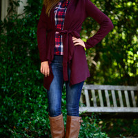 Tied To Love Cardigan, Burgundy