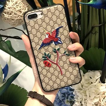 Fashion bird Print Embroidery iPhone Cover Case For iphone 6 6s 6plus 6s iphone 7 7plus