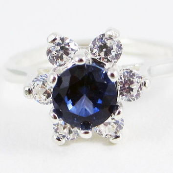 Blue Sapphire Halo Ring Sterling Silver, September Birthstone Ring, Sterling Halo Ring, Blue Sapphire Halo Ring, 925 Sterling Silver Ring