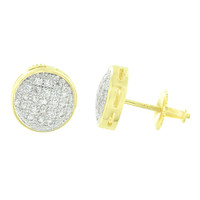 Round Mens Earrings Yellow Gold Finish