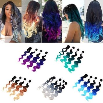 "16"" 18"" 20"" Wavy Hair Weaving 3Bundles with Closure Body Wave Ombre Gray Hair Weave Synthetic Hair Extensions"
