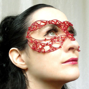 Red Venetian style masquerade mask by gringrimaceandsqueak on Etsy