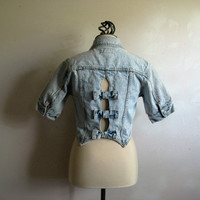 Vintage 80s JORDACHE Jacket Blue Acid Wash Bow Crop Cotton Denim Jean 1980s Womens Jacket Small