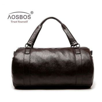 PEAPMF Aosbos New PU Leather Gym Bag Training Sports Bag for Women Men Fitness Bags Durable Outdoor Shoulder Traveling Duffel Handbags