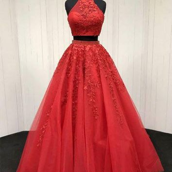 Two Piece Red Applique Halter Tulle Prom Dress