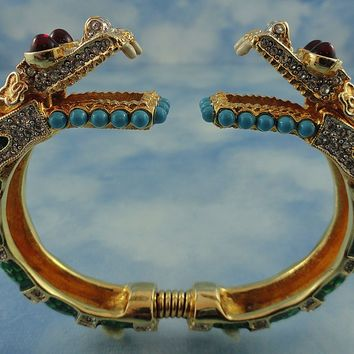 Stunning Signed KJL Kenneth Jay Lane Double Headed Open Mouth Dragon Bracelet Book Pc