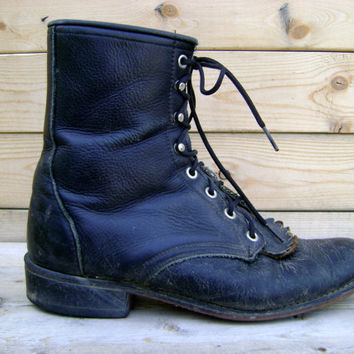 Black Roper Boots Vintage 90s Lace Up Packer Laredo Granny Fringe Size Womens 9 1/2 Country Western Boot 1990s Hipster Riding Shoes Boho