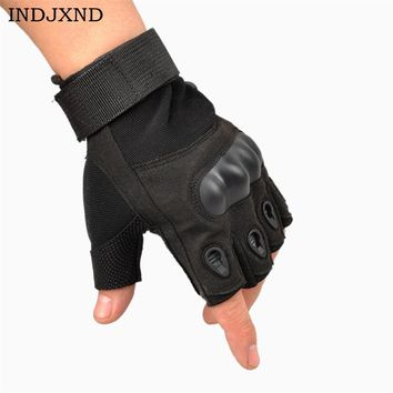 INDJXND Men's Gloves Fingerless Military Half Finger Adjustable Size Fitness Resistant Women Tactical Hunt Slip Mittens G005