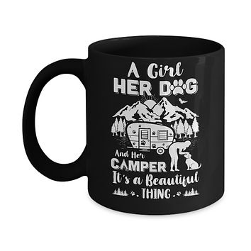 A Girl Her Dog And Her Camper It's A Beautiful Thing Camping Mug