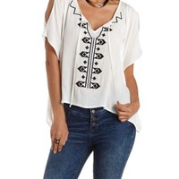 Embroidered Oversized Peasant Top by Charlotte Russe