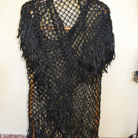 black shawl and large silver handmade