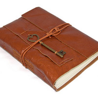 Light Brown Leather Journal with Heart Key Bookmark