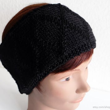 Black diamond pattern cable headband, knit hairband, soft wool earwarmer, X-pattern, head-wrap, multiple colours, handmade, sweet gift women