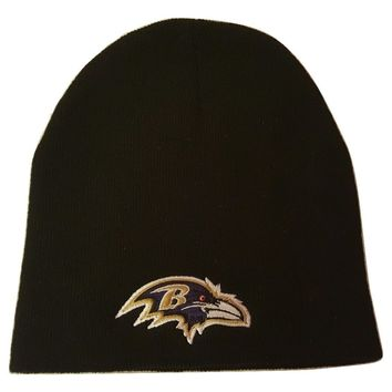 NFL Team Beanie Knit Cap Cuffless Logo Hat - Pick Your NFL Team