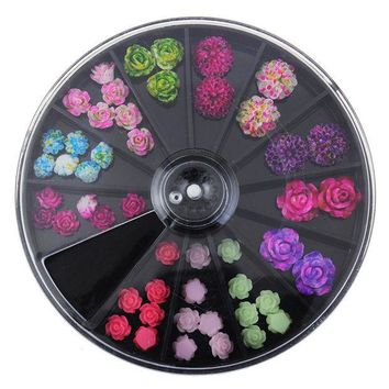 DCCKLG2 Wheel nail art  3D Trending Style Resin Roses acrylic Artificial flowers