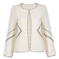 Beige Collarless Blazer with Stripe Detail
