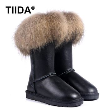TIIDA 2016 Fashion snow boots Women Winter boots 100% Genuine Leather Warm Snow Boots