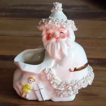 Vintage Napco Christmas White Santa Claus with Bag Spaghetti Trim Candy Container Planter