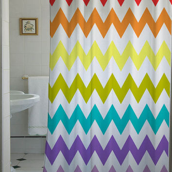 chevron rainbow shower curtain that will make your bathroom adorable
