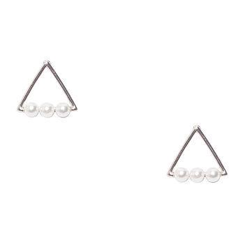 Triangle Pearl Silver Earrings