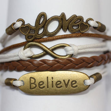 ROMANTIC~ Handmade Bracelet White and Brown Leather Bracelet Multilayer Bracelet Love Infinity Believe Charm Bracelet ilovecheesygrits