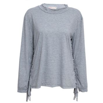Stylish Round Collar Long Sleeve Fringed Pure Color T-Shirt for Women
