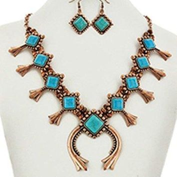 Southwest_Western_Cowgirl_Gypsy_Aztec_Turquoise_Copper__Squash_Necklace_Set FGHTRN# Necklace