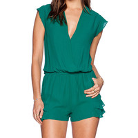 Twelfth Street By Cynthia Vincent Ruffle Flutter Romper in Green