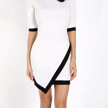 White Asymmetrical Hem Mini Dress