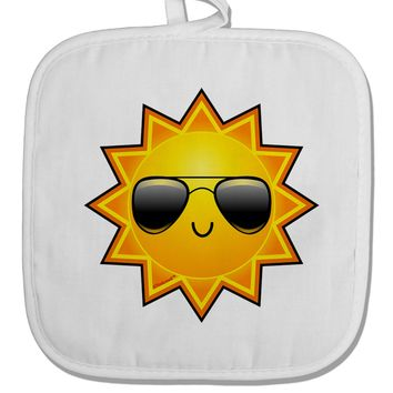 Sun With Sunglasses White Fabric Pot Holder Hot Pad by TooLoud