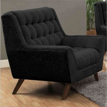 Modern Mid-Century Style Black Upholstered Arm Chair