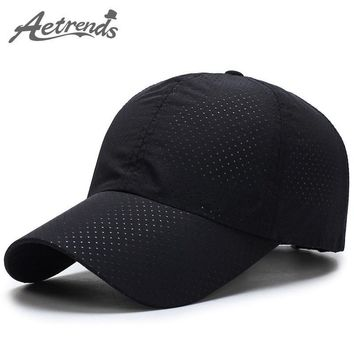 [AETRENDS] Men Women Summer Snapback Quick Dry Mesh Baseball Cap Sun Hat Bone Breathable Hats Z-5109