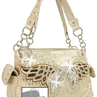 * Concealed Carry Winged Rhinestone Pistols Layered Handbag In Beige