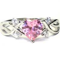 Pink Heart Shaped Ring – Pink Cubic Zirconia