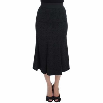Dolce & Gabbana Black Stretch Floral Brocade Pencil Skirt