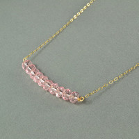 Beautiful Light Pink Crystal Beads Necklace, 14K Gold Filled Chain, Wonderful Jewelry