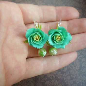 Earrings Emerald  polymer clay Aqua rose handmade Blue Floral earrings earrings with roses mint earrings Turquoise roses BRIGHTNature