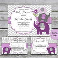 Elephant Baby Shower Invitations Girl Purple Grey Bookcard Inserts & Diaper Raffle Printable Baby Shower Invites Instant Download (50p)