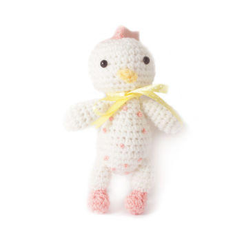 Pink-White Chicken Handmade Amigurumi Stuffed Toy Knit Crochet Doll VAC