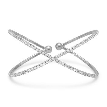 "Silver Tone Criss Cross ""X"" Crystal Fashion Memory Bracelet"